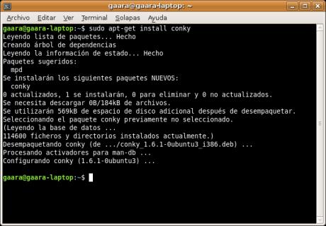 Screenshot para instalación de Conky